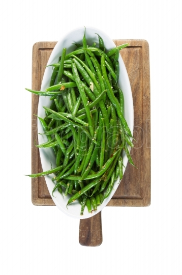 Freshly Cooked Green Beans isolated on White