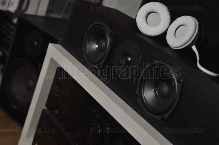 Front speakers from a 7.1 thx hi-fi sound system and headphones
