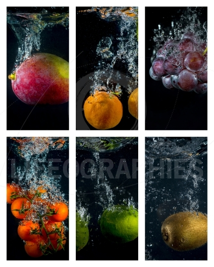 Fruits and vegetables falling into the water with splashes and b