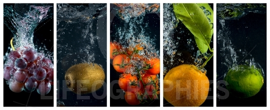 Fruits and vegetables falling into the water with splashes and bubbles