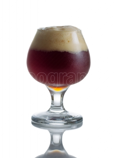 Full Draft Dark Beer in Glass Goblet