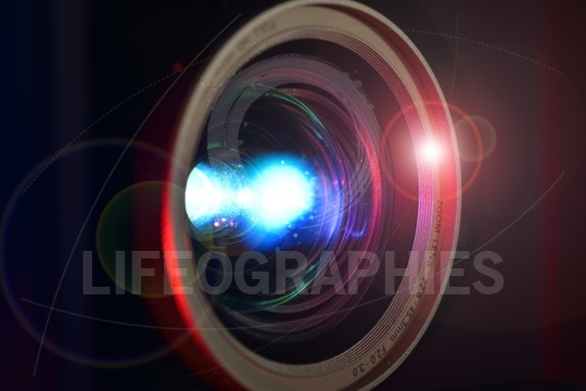 Full hd video projector lens close-up