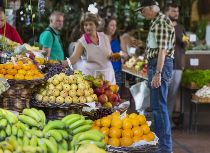 FUNCHAL, PORTUGAL - JUNE 25: Fresh exotic fruits in Mercado Dos