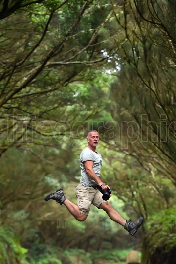 Funny photographer in Anaga Natural Park, Tenerife, Spain