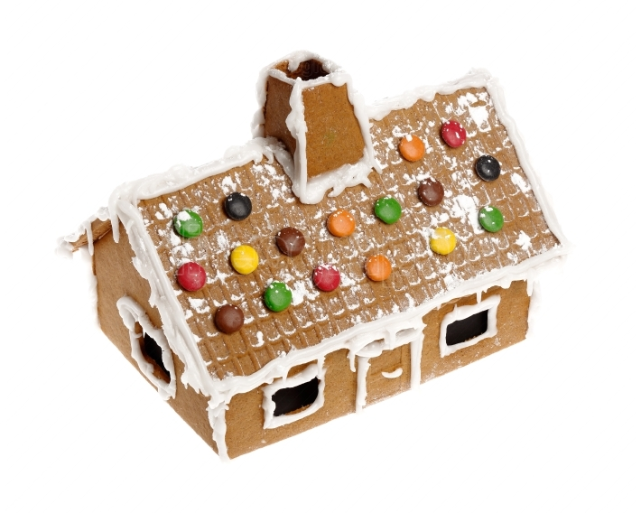 Gingerbread house on white