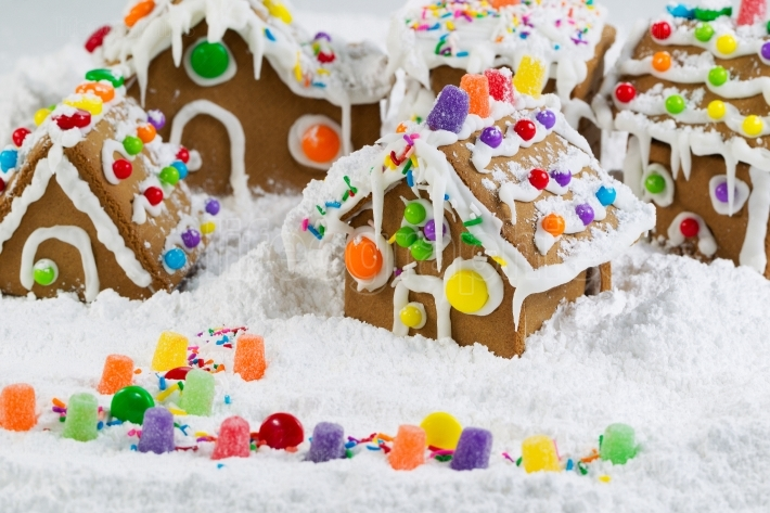 Gingerbread Houses Covered with Snow