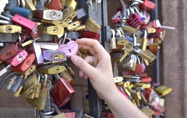 Girl hand on Love lock   BASEL   Switzerland   21 July 2017