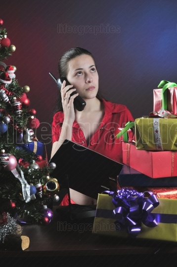 Girl on phone at Christmas
