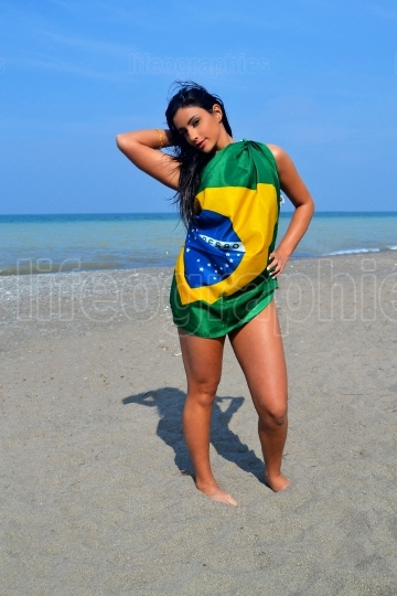 Girl with Brazilian flag