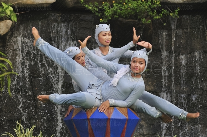 Girls dressed as mythical characters of cambodia