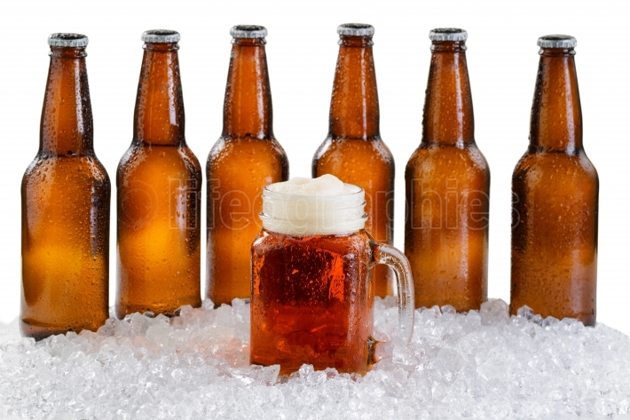 Glass of beer with six pack of ice cold bottles isolated on whit