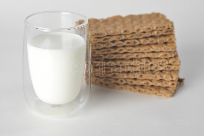 Glass of milk and sliced dry bread