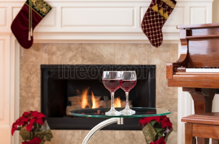 Glasses of red wine for the holiday season
