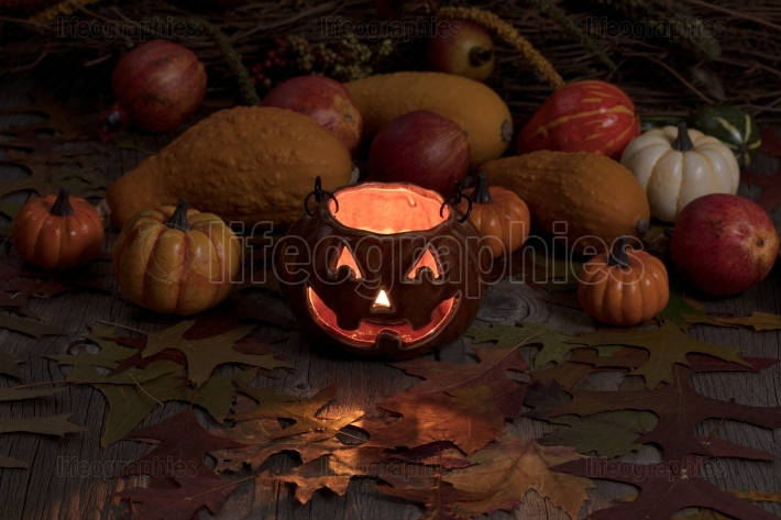 Glowing pumpkin decoration and autumn gourds in dark background