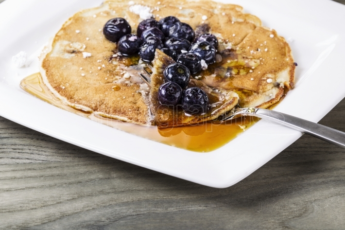 Golden Maple Syrup with Blueberry Pancakes