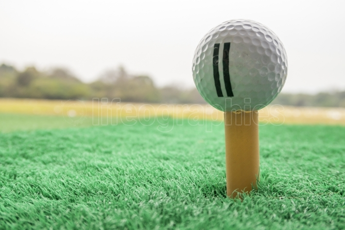Golf ball on a Tee in driving range