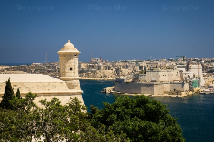 Grand Harbour and fort in Valletta, Malta