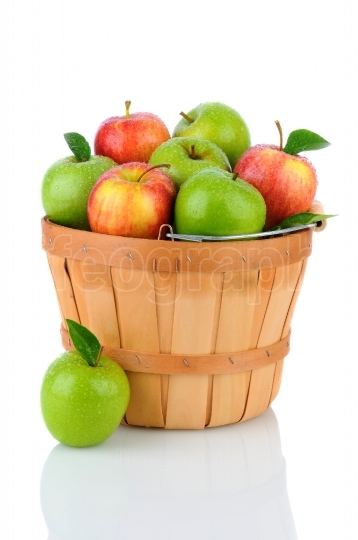 Granny Smith and Gala Apples in a Basket
