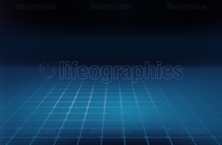 Graphical abstract background grid lines on blue ground floor Co