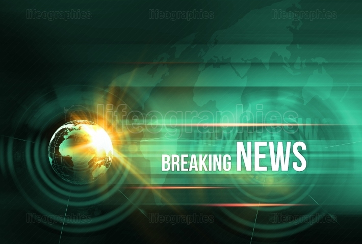 Graphical breaking news background with earth globe