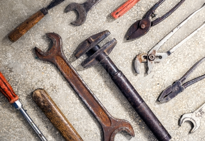 Grungy and rusty old hand tools .Useful as background for repair