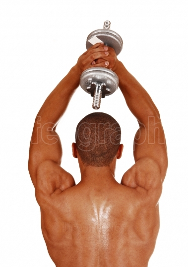 Guy with silver dumbbells