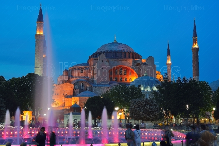 Hagia Sophia (also called Hagia Sofia or Ayasofya) of Istanbul at Night.