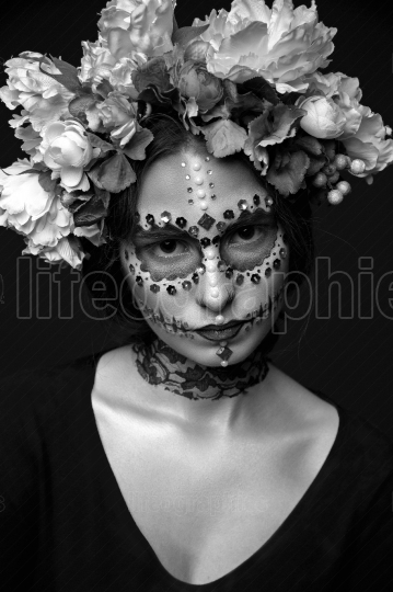 Halloween Girl with Rhinestones and Wreath of Flowers