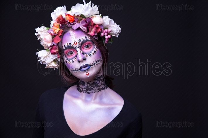 Halloween Makeup with Rhinestones and Wreath of Flowers