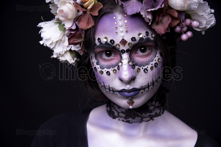Halloween Model close up with Rhinestones and Wreath of Flowers