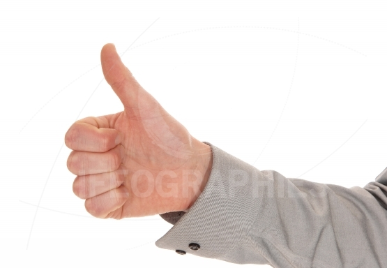 Hand with thumb up.