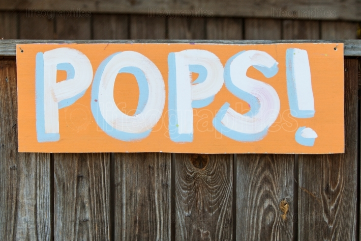 Handmade Sign Directs Carnival Patrons To Pops Booth
