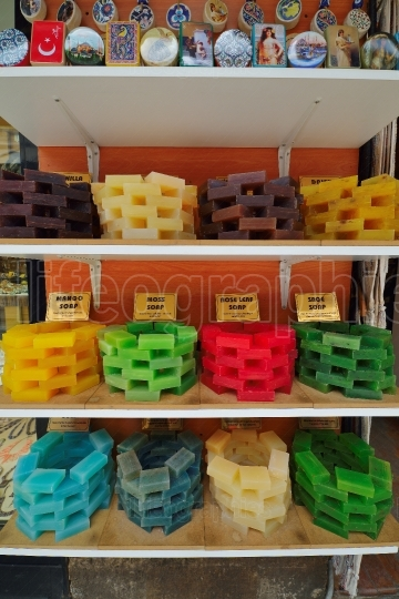 Handmade soap in Grand bazaar shops in Istanbul, Turkey.