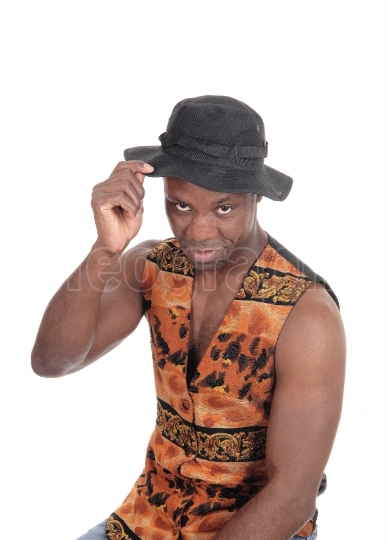 Handsome African man in a vest with hat