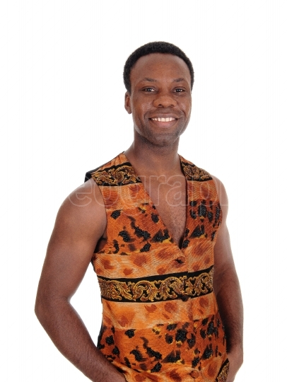 Handsome African man in a vest without shirt