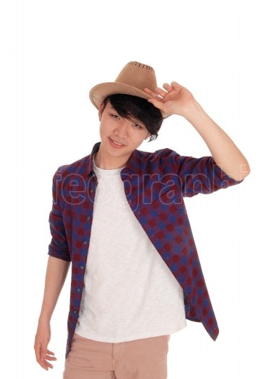 Handsome Asian man with hat.