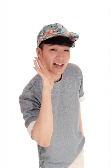 Happy Asian man with cap