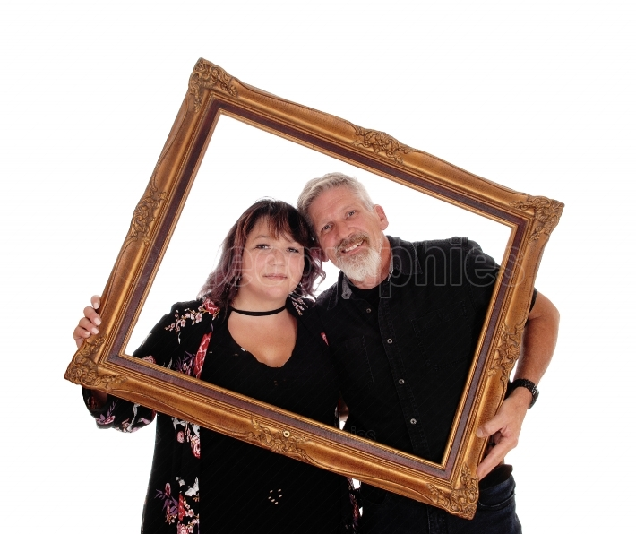 Happy couple in a picture frame