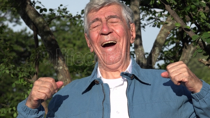 Happy Excited Old Man Outdoors