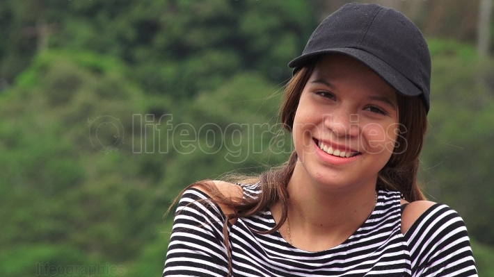 Happy Teen Girl Laughing And Smiling