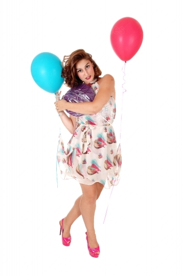 Happy woman with balloon's.