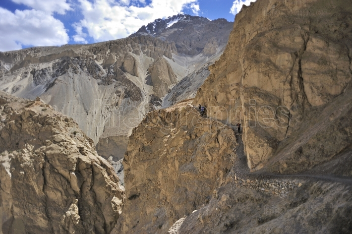 Hard trail routes from shimhsal village to karakoram mountains.