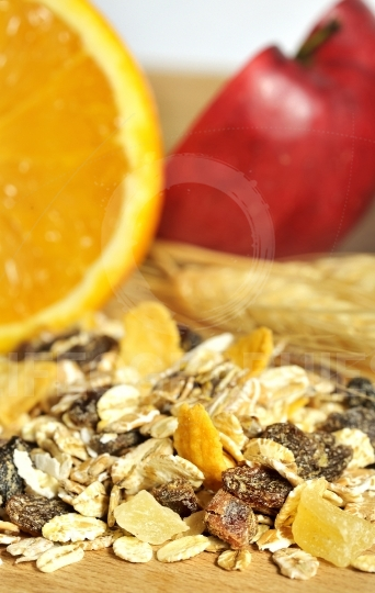 Healthy muesli with dried fruit