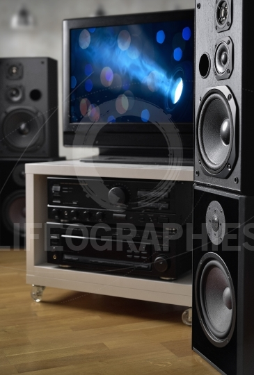 Hi-fi system, speakers and tv for monitoring video production