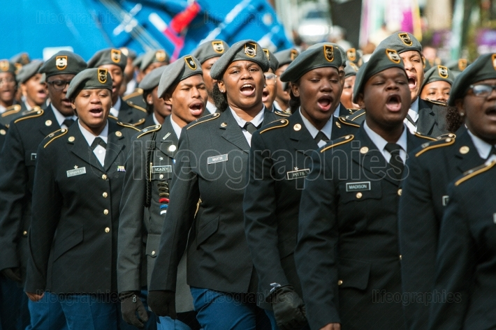 High School Military Cadets Sound Off At Veterans Day Parade