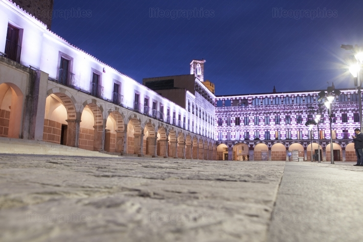 Hight square illuminated by led lights, Spain