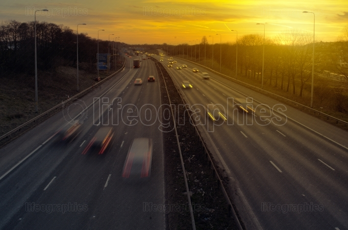 Highway Traffic at Sunset