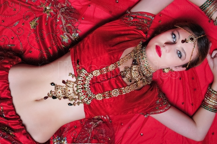 Hindu bride lying on the floor