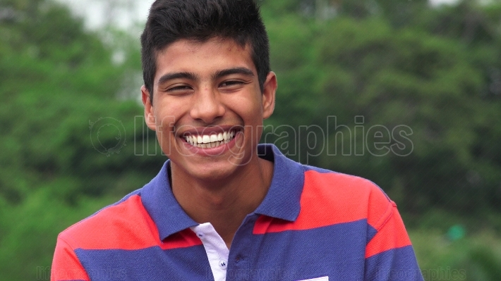 Hispanic Teen Boy Laughing
