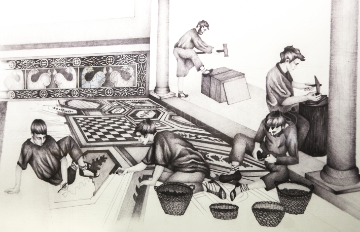 Historical reconstruction drawing of mosaic construction
